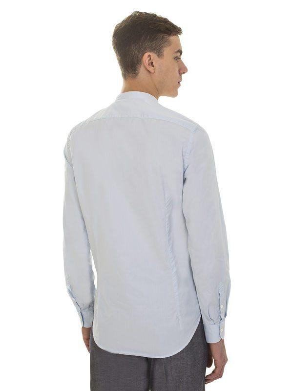 DELL'OGLIO - Striped light blue cotton shirt