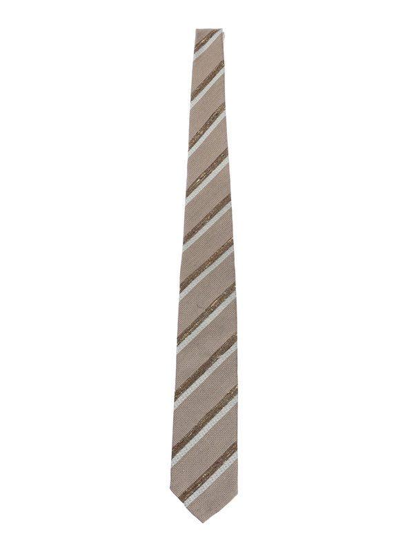 DELL'OGLIO - Brown regimental linen and silk tie
