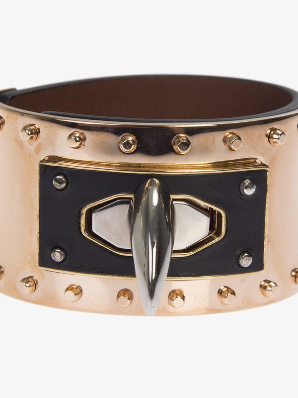 GIVENCHY - Leather and metal Shark Tooth bracelet