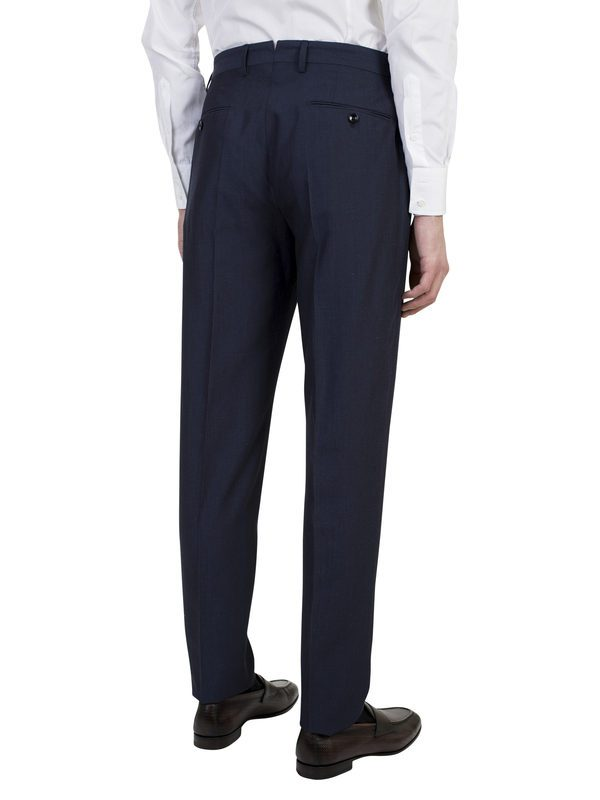INCOTEX - Blue wool and linen trousers
