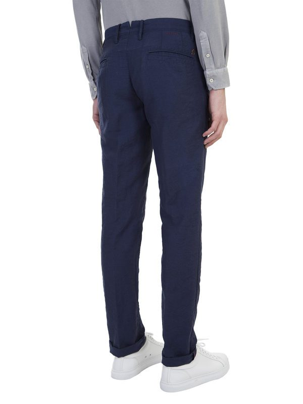 INCOTEX - Blue linen and wool trousers