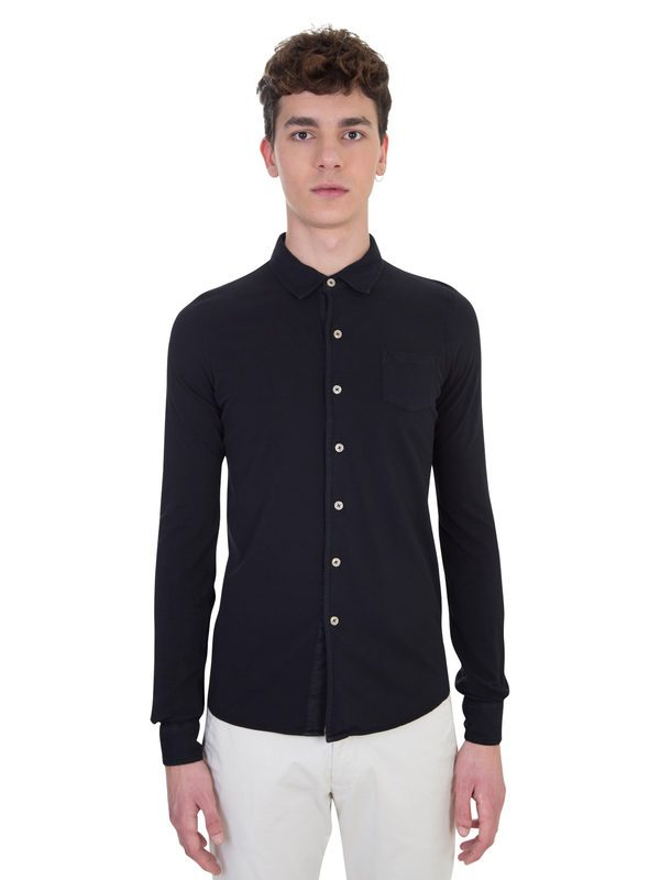 ORIGINAL VINTAGE - Black cotton piquè shirt