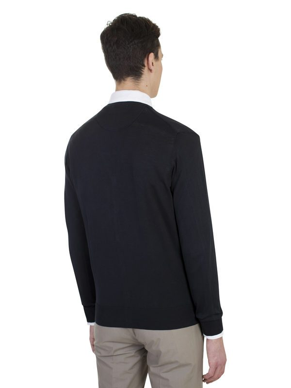 ORIGINAL VINTAGE - Dark blue cotton knit cardigan