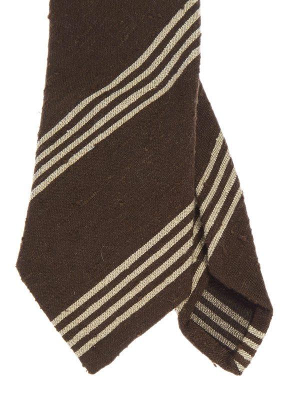 DELL'OGLIO - Striped brown silk tie