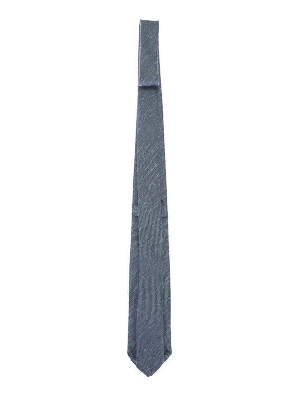 DELL'OGLIO - Light blue and black silk tie