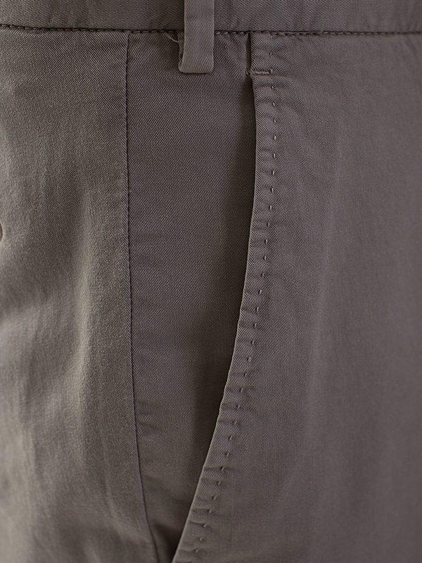 DELL'OGLIO - Taupe stretch cotton trousers