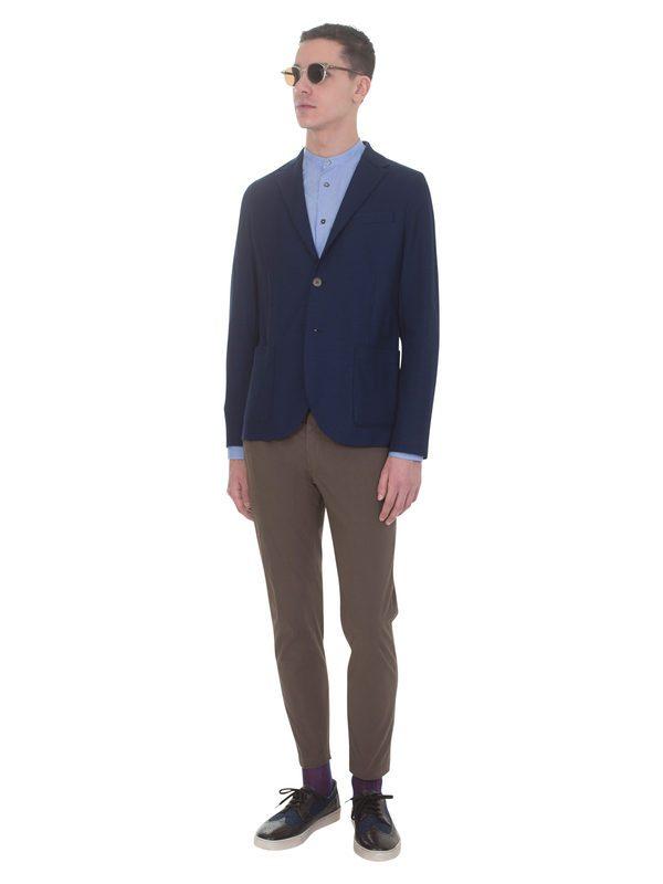 DELL'OGLIO - Brown stretch cotton trousers