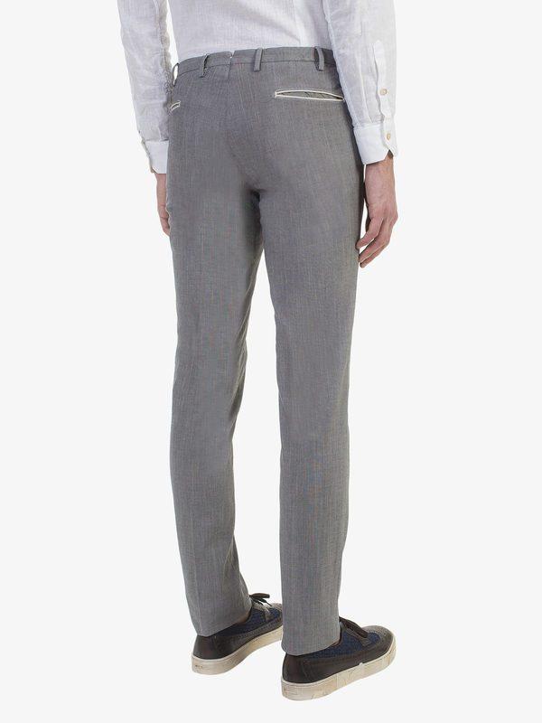 DELL'OGLIO - Stretch cotton grisaille trousers