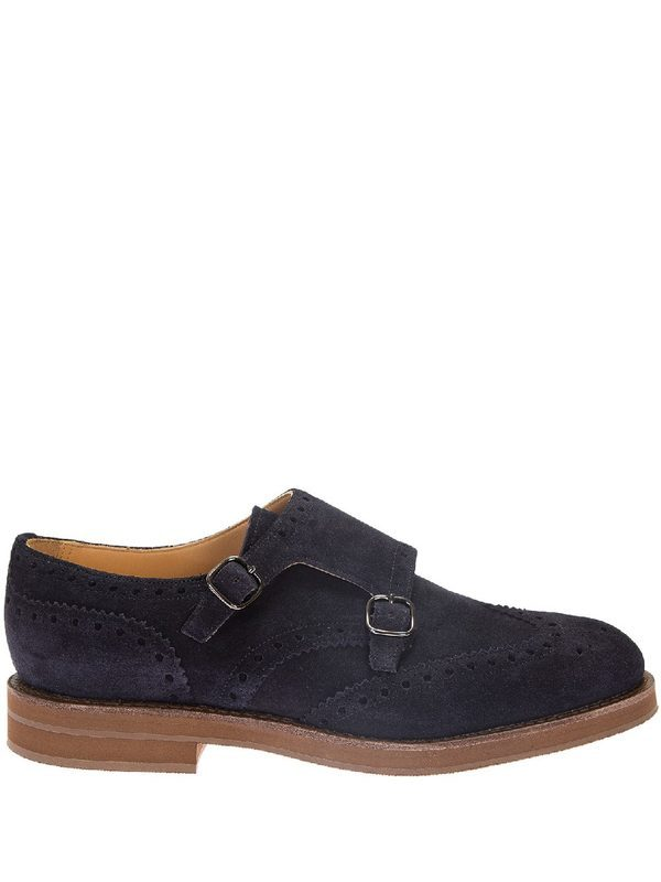 CHURCH'S - Blue suede monkstrap shoes