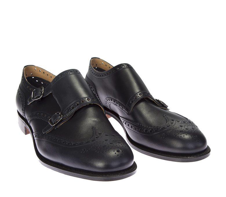CHURCH'S - Navy blue leather Minster monkstrap shoes