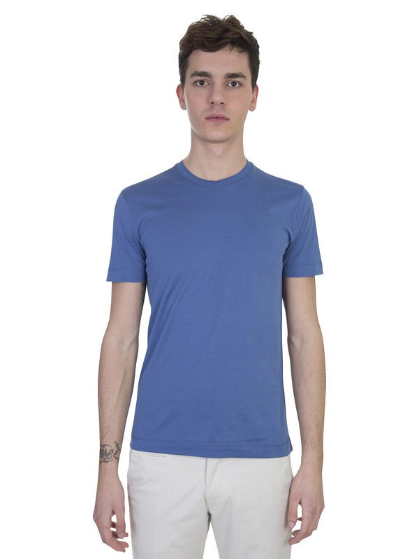 DELL'OGLIO - Blue cotton basic T-shirt