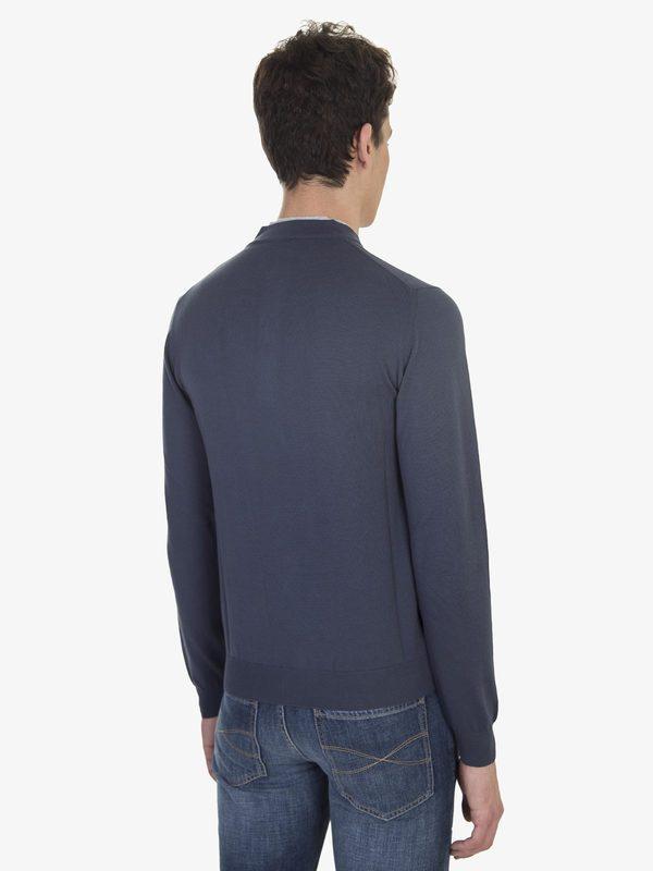 DELL'OGLIO - Dark blue cotton with gray collar Serafino sweater