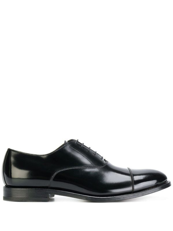 DELL'OGLIO - Black patent leather brogues with stitching details