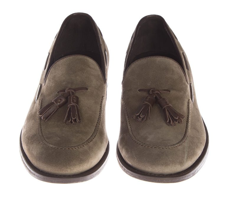 DELL'OGLIO - Taupe suede moccasin with tassels