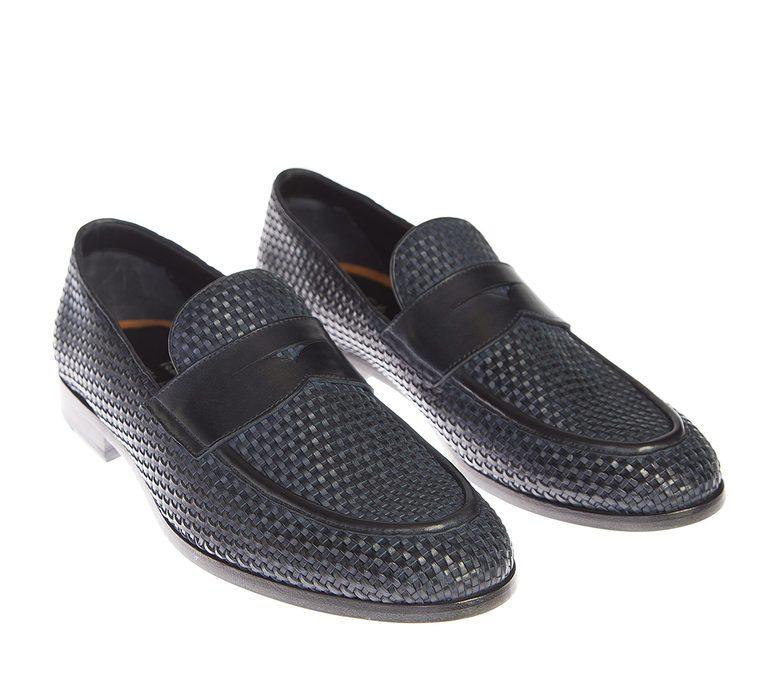 DELL'OGLIO - Blue interwoven leather moccasins