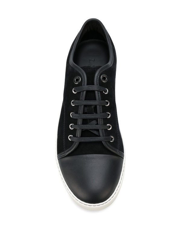 LANVIN - Suede and smooth leather sneakers