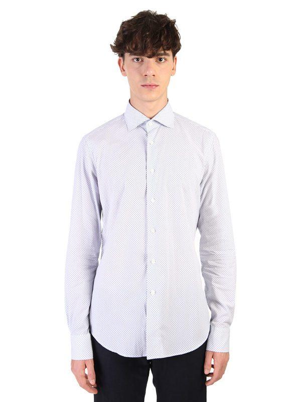 DELL'OGLIO - Micro-pattern cotton shirt