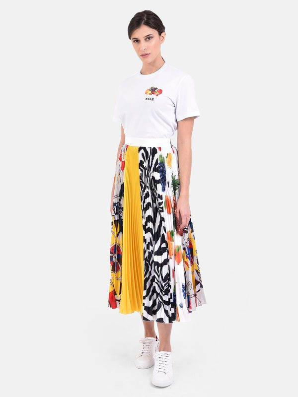 MSGM - Printed and pleated skirt
