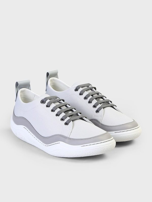 LANVIN - Leather and fabric sneakers
