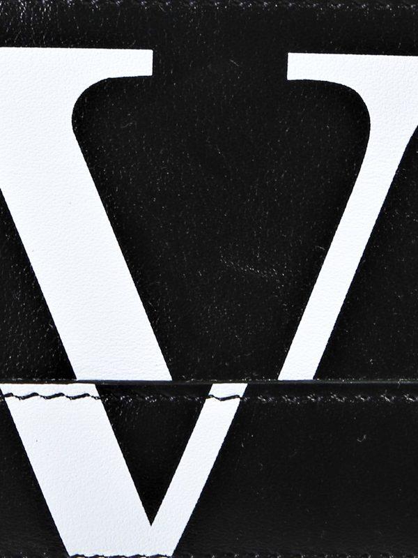 VALENTINO GARAVANI - Logo print leather card holder