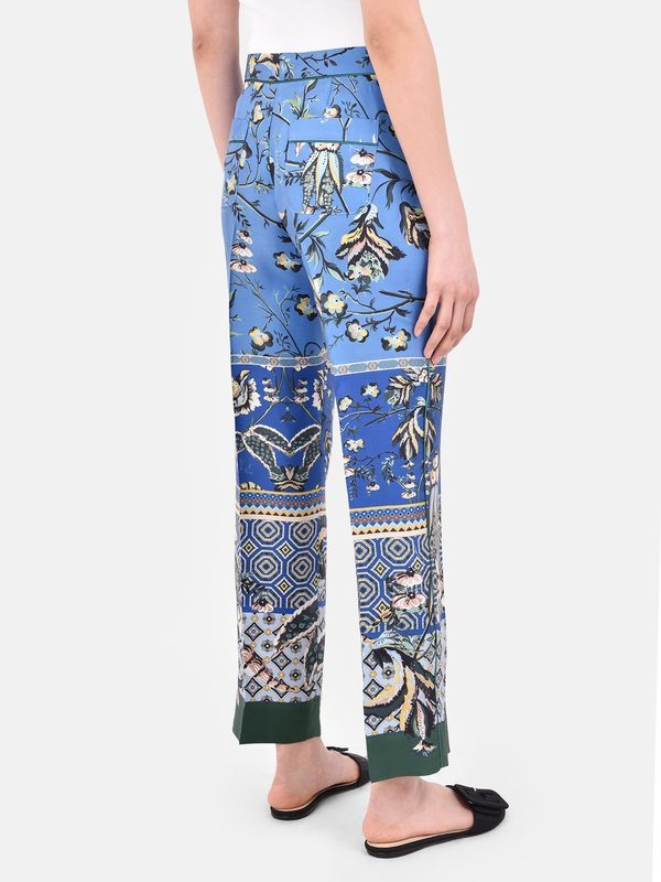 FOR RESTLESS SLEEPERS - Floral print silk twill trousers