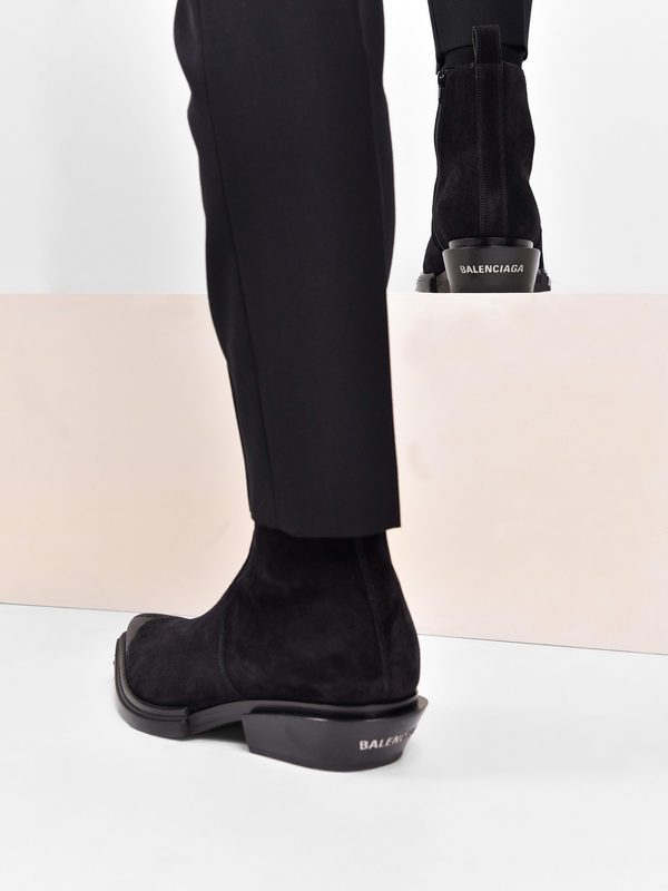 BALENCIAGA - Santiag suede leather ankle boots