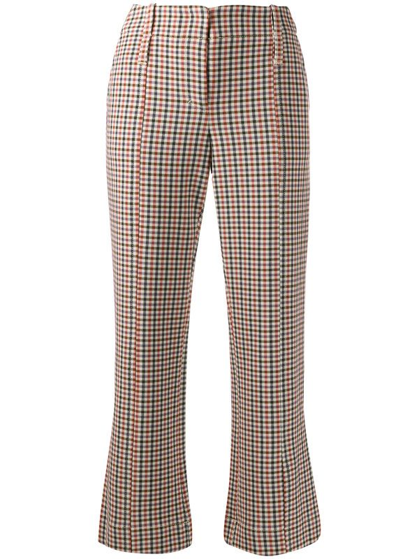 TORY BURCH - Checked viscose blend trousers