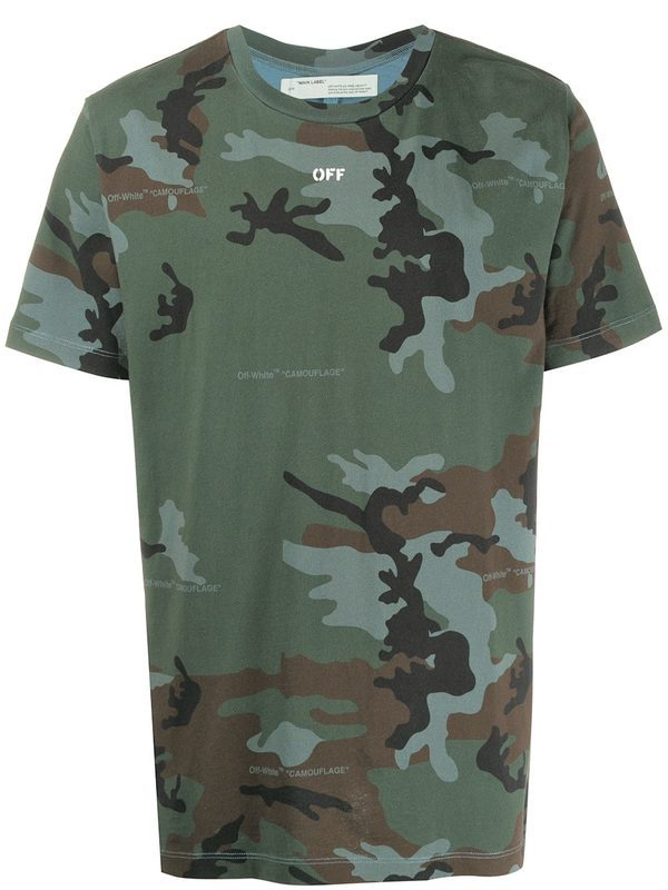OFF-WHITE - Camouflage pattern cotton T-shirt
