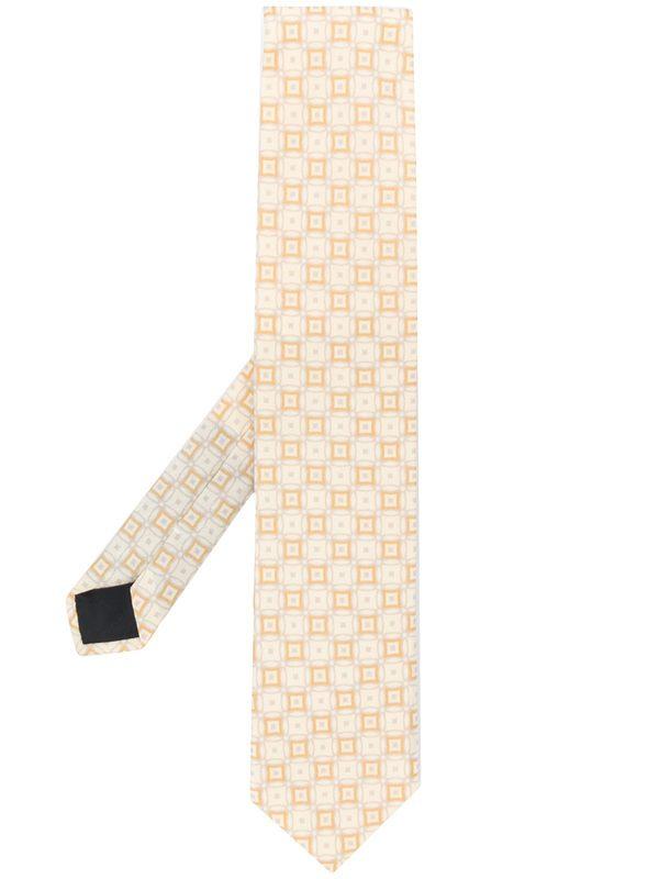LARDINI - Geometric pattern silk tie